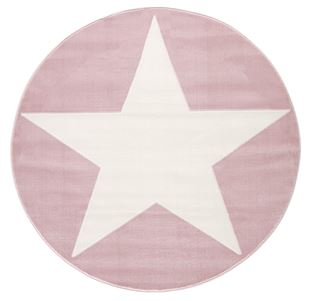 Obrázok Detský koberec hviezda - ružová / biela 160cm