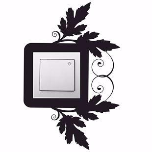 Obrázok Samolepiace velúrová ochrana vypínače Listy - mix farieb