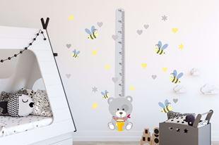 Obrázok Meter na stenu - Medvedík a včielky Sivá