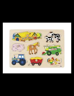 Obrázok Puzzle s drevenými úchytkami - Zvieratá na statku