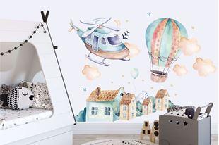 Obrázok Samolepka na stenu Vrtuľník, balón a mestečko