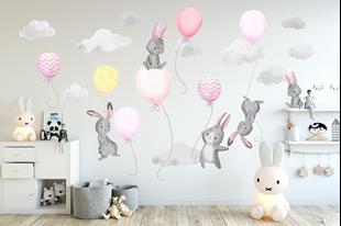 Obrázok Samolepka na stenu Malí zajačikov a balóniky Ružová