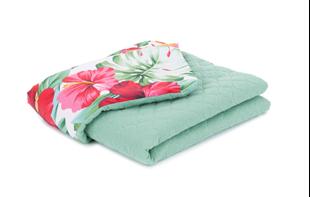 Obrázok Detská prešívaná deka Farebné kvety Mušelín PIK 75x100 cm Zelená