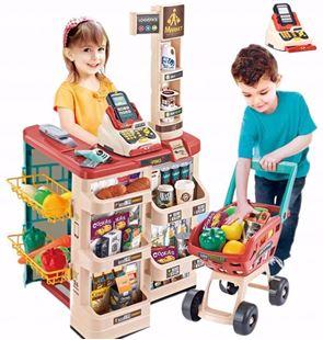 Obrázok Detský supermarket s vozíkom a pokladňou Červeno krémová