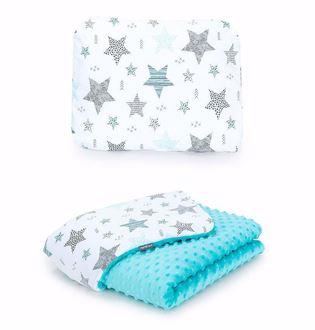 Obrázok z Detská deka s vankúšom Hviezdy 2 Minky 75x100 cm - rôzne varianty