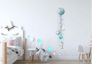 Obrázok Meter na stenu - Zajačik a balóniky Modrá