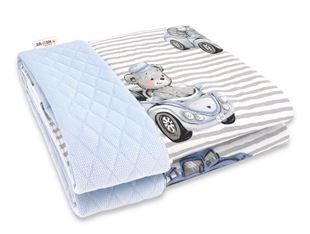 Obrázok Obojstranná prešívaná deka Bavlna + Velvet 100x70cm, Baby Car - modrá