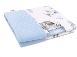 Obrázok Obojstranná prešívaná deka Bavlna + Velvet 100x70cm, Vláčik, modrá
