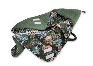 Obrázok Oteplená zavinovacie deka s kapucňou Velvet, 90 x 90 cm, Papagáj - zelená