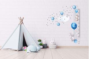 Obrázok Meter na stenu - zajačikov, balóniky a hviezdičky Modrá