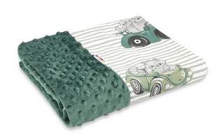 Obrázok Bavlnená deka s Minky 100x75cm, Baby Car - zelená