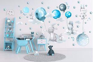 Obrázok Zajačikov, balóniky, mráčiky a hviezdičky Modrá