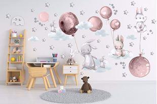 Obrázok Zajačikov, balóniky, mráčiky a hviezdičky Ružová