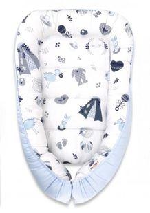 Obrázok Bavlnené obojstranné hniezdočko, 55x75cm, New Love Baby - modrá