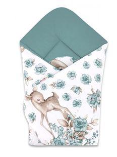 Obrázok Baby Nellys novorodenecká zavinovačka, Srnka a ruže, mätová