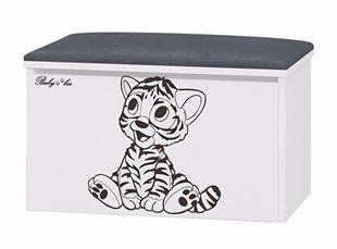 Obrázok Truhla na hračky s podsedákom Tigrík