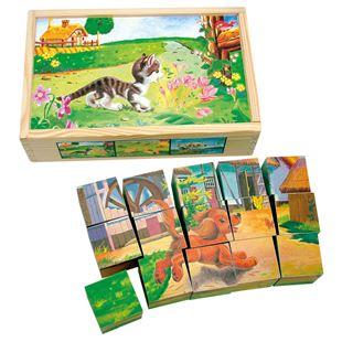 Obrázok Drevené obrázkové kocky domáce zvieratká 15 ks