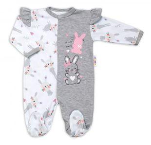 Obrázok Bavlnený dojčenský overal s volánikmi Cute Bunny - sivý