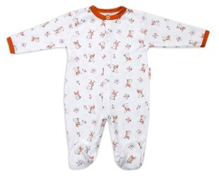 Obrázok Bavlnený dojčenský overal Teddy - biely