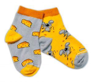 Obrázok Bavlnené veselé ponožky Myška a syr - žltá / sivá