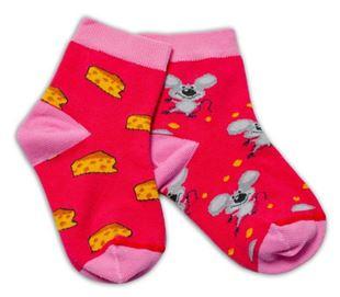 Obrázok Bavlnené veselé ponožky Myška a syr - tmavo ružová