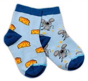 Obrázok Bavlnené veselé ponožky Myška a syr - svetlo modré