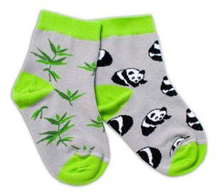 Obrázok Bavlnené veselé ponožky Panda - šedé