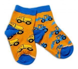 Obrázok Bavlnené veselé ponožky Stavebné stroje - horčicovej