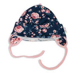 Obrázok Bavlnená čiapočka s uškami na zavazování- Ružičku, púdrová / granátová