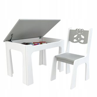 Obrázok z Detský stôl s úložným priestorom a stoličiek Macko - sivý