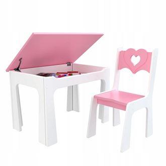 Obrázok z Detský stôl s úložným priestorom a stoličiek Srdce - ružové