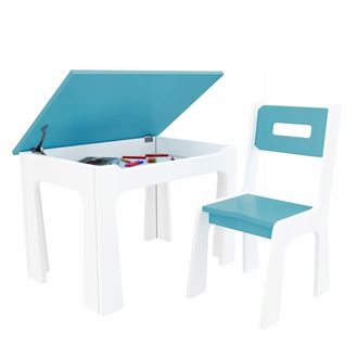 Obrázok z Detský stôl s úložným priestorom a stoličiek modro-biely