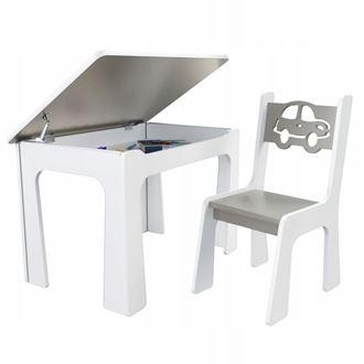 Obrázok z Detský stôl s úložným priestorom a stoličiek Auto - šedé