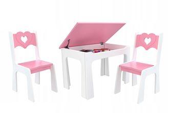 Obrázok z Detský stôl s úložným priestorom a stoličkami Srdce - ružové