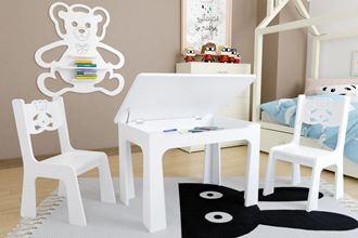 Obrázok z Detský stôl s úložným priestorom a stoličkami Macko - biely