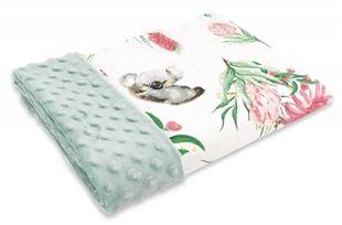 Obrázok Bavlnená deka s Minky 100x75cm, Exotika, biela / mätová