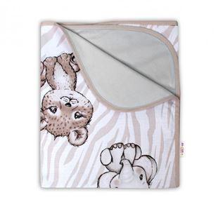Obrázok Obojstranná letná deka Bavlna + jersey 100x75cm, ZOO - béžová