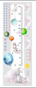 Obrázok Meter na stenu - Králici, balóniky, mráčiky a hviezdičky Farebná