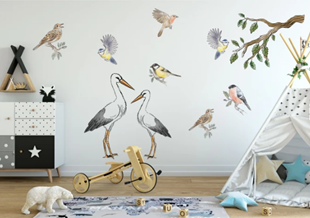 Obrázok Samolepka na stenu Bociany a vtáčiky