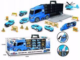 Obrázok Nákladné auto s autíčkami a cestným príslušenstvom Polici Modrá